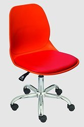Leather & Metal Red Restaurant Revolving Chair