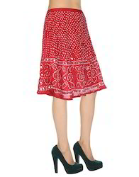 Dark Red Cotton Bandhej Printed Mirror Work Knee Length Skirt