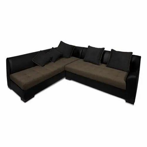 L Shape Leather Fabric Sofa Set