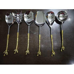 Cutlery Dining Spoon With Brass Handle