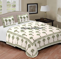 Indian Tree Of Life Print Bed Cover Throw Cotton Bedspread