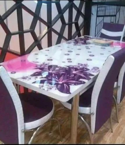 Modern Digital Printed Glass Top Wooden, Glass Dining Room Table With Wood Base