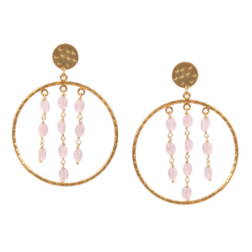 7558ead02 Silver Brass Gold Plated Hammer Big Circle Quartz Pink Onyx Beads Dangle  Handmade Earring