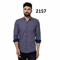 Collar Neck Mens Designer Printed Shirt, Size: Available In M,L and XL