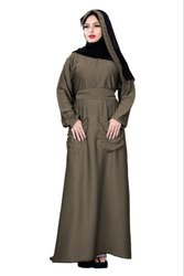 Ivory Color Plain Nida Abaya Burka With Pocket And Belt Style For Women
