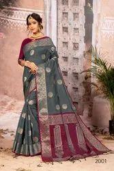 Designer Banarasi Cotton Silk Weaving Saree with Blouse Piece