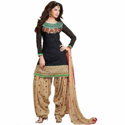 04f30632b4 Stitched Cotton Ladies Printed Patiala Salwar And Dupatta Set, Rs ...