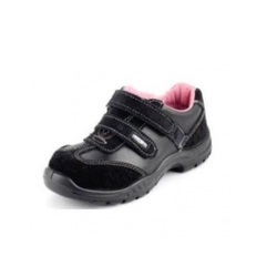Leather Black Ladies Safety Shoes