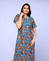 Women Brown And Sky Blue  Night Gown