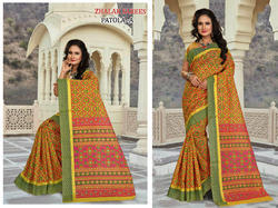 Casual Wear Border Patola Cotton Sarees With Blouse Piece