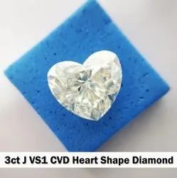 3ct J VS1 Heart Shape CVD TYPE2A Diamond