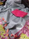 Ladies Grey Cotton Slub Saree