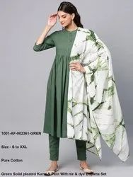 Green Solid Pleated Kurta & Pant With Tie & Dye Dupatta Set