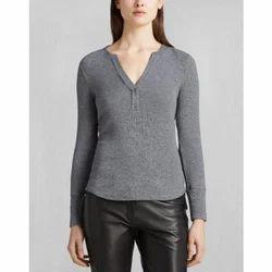 Medium And Large Grey Ladies Plain Cotton T Shirt