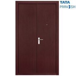 Tata Pravesh Coral Plain Wood Finish Double Leaf Residential Steel Door