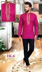 Men's Cotton Embroidered Short Kurtis