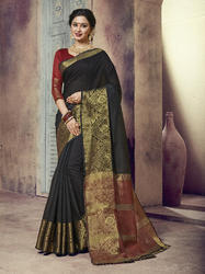 Black Designer Traditional Wear Chanderi Cotton Saree with Blouse Piece