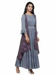 Yash Gallery Women's Rayon Embellished Work Anarkali Kurta with Printed Jacket
