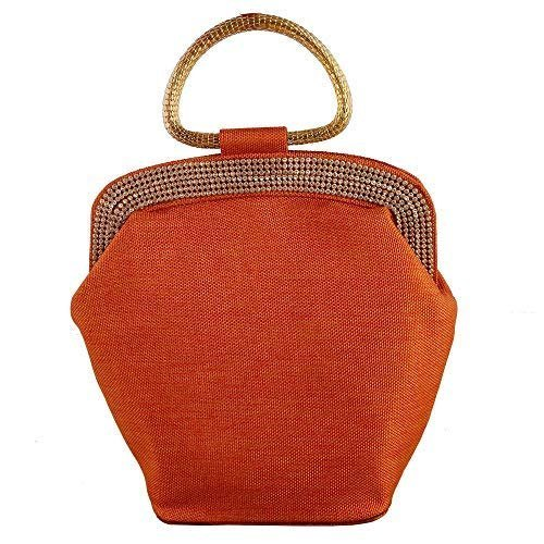 100% authenticated bright in luster buy real Ladies Orange Clutch With Handle