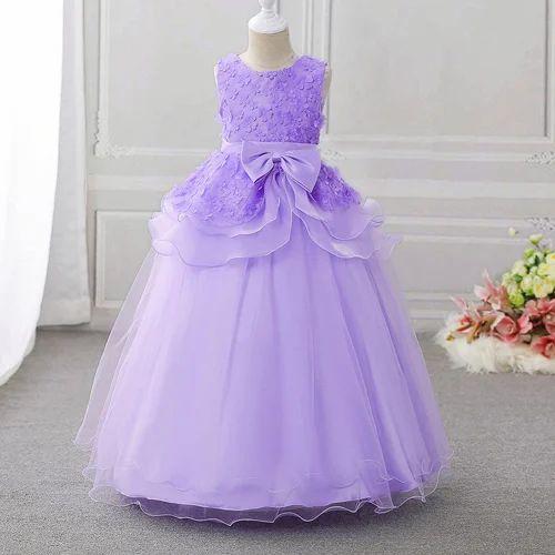 1895552bfee071 Elegant Purple Bow Applique Gown