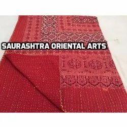 Ajrak Red Color Kantha Quilt