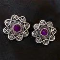 Oxidized Purple Color Gemstone Earrings