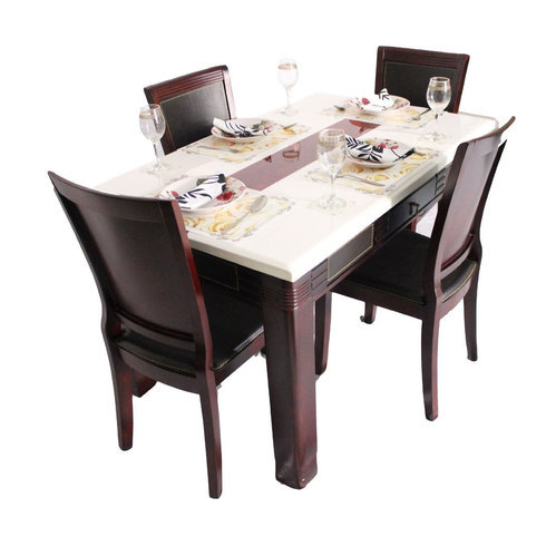Marble Top 4 Seater Dining Table Set