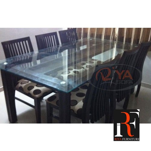 Wooden Glass Top Dining Table Set 6 Chair 1 Table Rs 50000 Set Id 13297524491