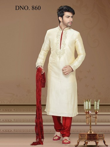 Cream Groom Wear , Wedding Wear Art Embroidery Kurta Pajama, Rs 1574 ...