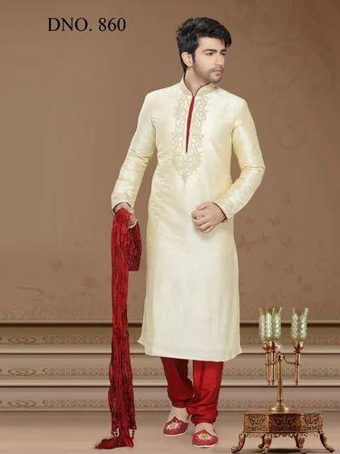 8558dd8c32 Art Silk Cream Color Long Embroidery Kurta Pajama, Rs 1574 /piece ...