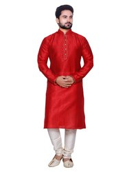 Knee Long Men Kurta Paijama Available In Kargil Silk Fabric, Size: 36 to 42
