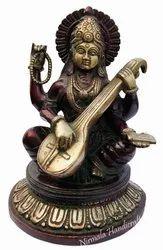 Brass Saraswati Antique Finish Work Item