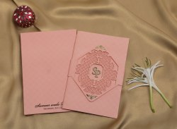 Paper Pull-Out Insert Pastel Pink Laser Cut Wedding Invitation Card, Size: 23.7cm X 15.6cm