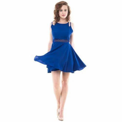ebea6cb4eaf9 Plain Party Wear Blue Skater Dress