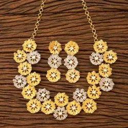 White Designer Gold Plated Trendy Necklace Set 45805