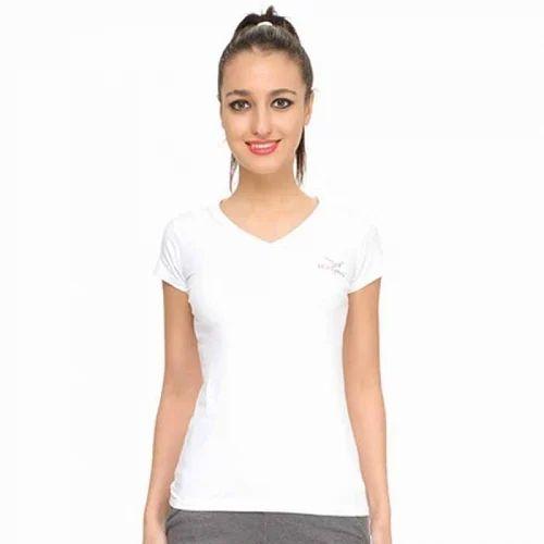 Medium neck V Hiflyers T Spandex Shirt White 399 Ta034Rs Tt Womens cT5uFK3l1J