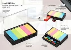 C98 Small USB Hub With Sticky Notes And Drawer 3 USB Ports
