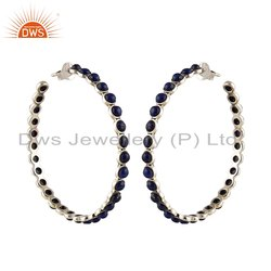 Lapis Lazuli Gemstone Oxidized 925 Silver Hoop Earrings Supplier