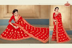 Dyed Georgette Heavy Embroidery & Diamond Work Saree With Lace - SHOBHAGYA