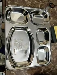 Stainless Steel 5 In 1 Bhojan Thal Mirror Polish With Laser Print 450gm Approx