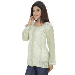 Available in various Sizes Available In Various Colors Ladies Short Chikan Kurti