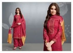 Savory Cotton Silk Embroidered Party Wear Salwar Kameez