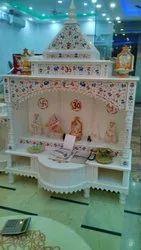 White Marble inlay work home mandir