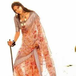 Pure Linen Weaving Silver Zari Border Saree