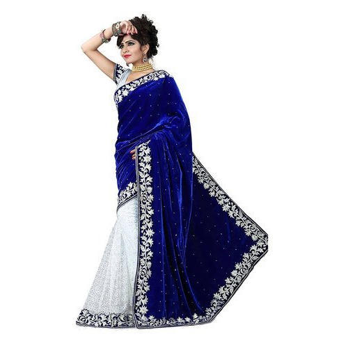 e1eb2727cb6de Blue And White 5.5 Meter Stylish Velvet Saree