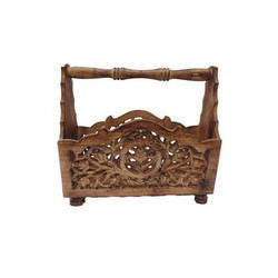 Planet Expo Brown Wooden Magazine Holder