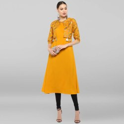 Mustard Poly Crepe Jacket Style Kurta