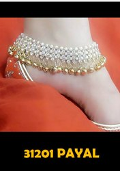 White Stones Gold Plating Payal (Avbl On Approval)