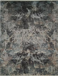 Handmade modern wool and silk rug for living area