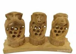 Wooden Jali Monkey Set